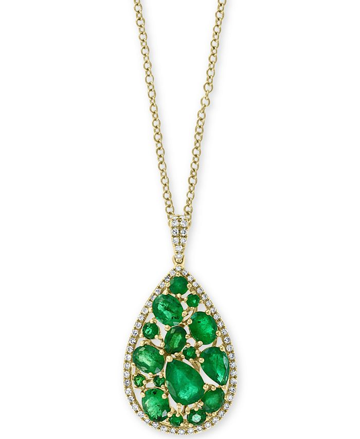 "EFFY Collection - Emerald (3-1/20 ct. t.w.) and Diamond (1/4 ct. t.w.) Teardrop 18"" Pendant Necklace in 14k Gold"