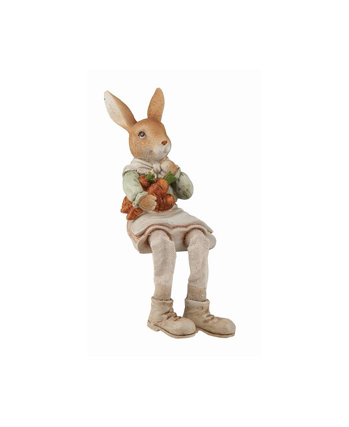 Trans Pac - Resin  Brown Easter Traditional Bunny Farmer Shelf Sitter