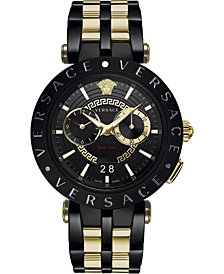 Versace Men's Swiss V-Race Two-Tone Stainless Steel Bracelet Watch 46mm