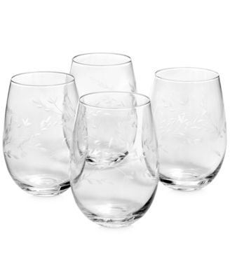 Etched Floral Stemless Wine Glasses, Set of 4, Created for Macy's
