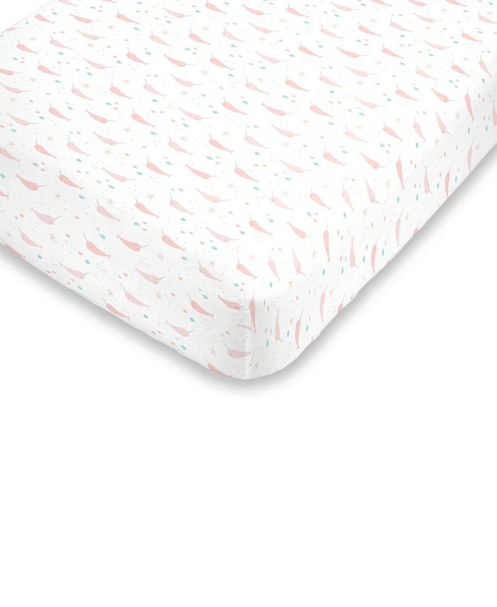 NoJo - Watercolor Narwhal Fitted Mini Crib Sheet