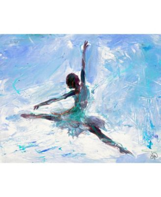 "Grande Jete Ballerina in Blue Abstract 20"" x 16"" Canvas Wall Art Print"