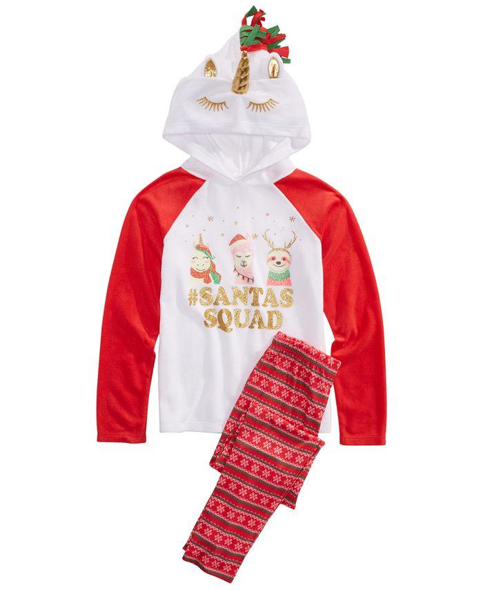 Max & Olivia - Little & Big Girls 2-Pc. Santa's Squad Pajamas Set