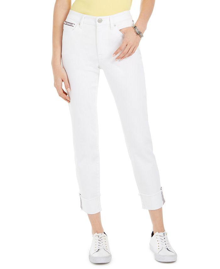 Tommy Hilfiger - Striped-Cuff Cropped Jeans