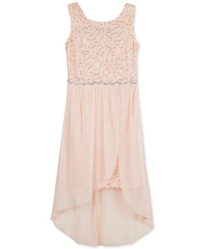 BCX - Sequin High-Low Hem Dress, Big Girls