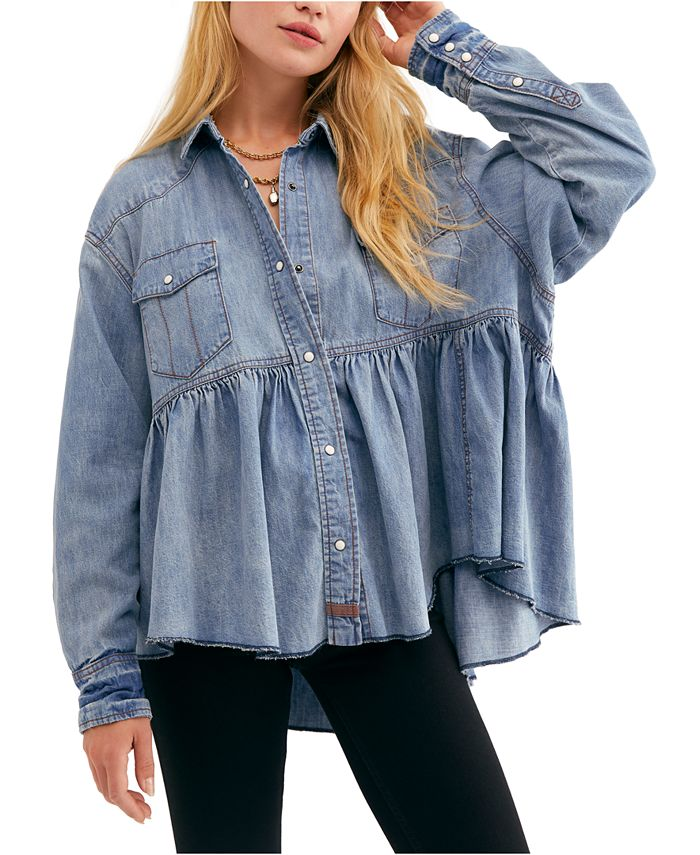Free People - Dylan Cotton High-Low Empire-Waist Top