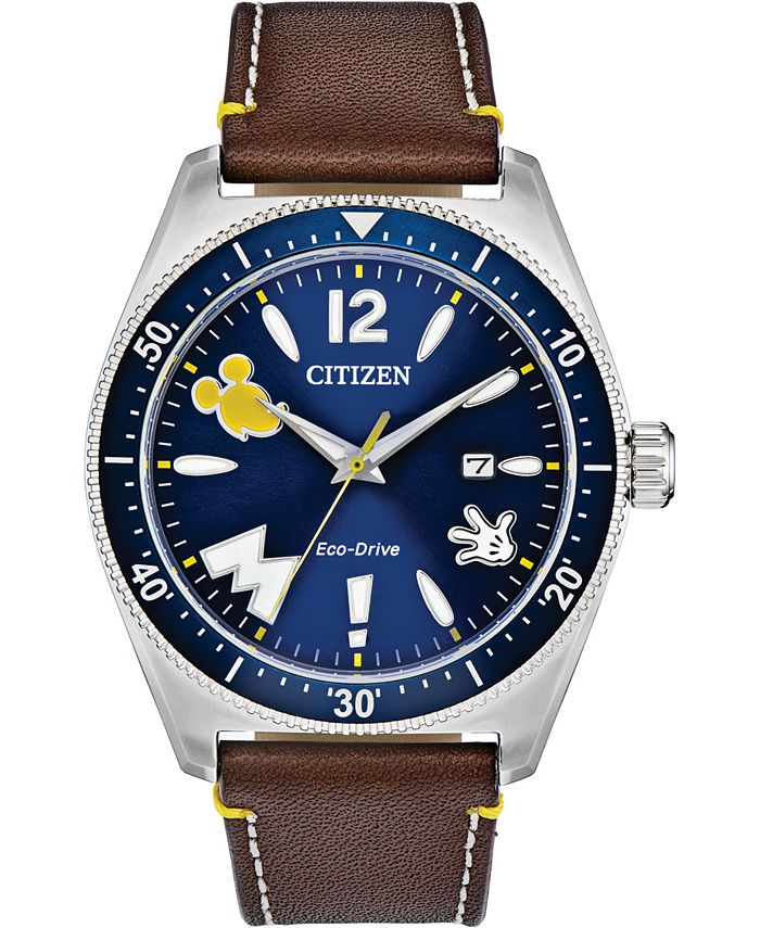 Citizen - Men's Disney Classic Brown Leather Strap Watch 43mm