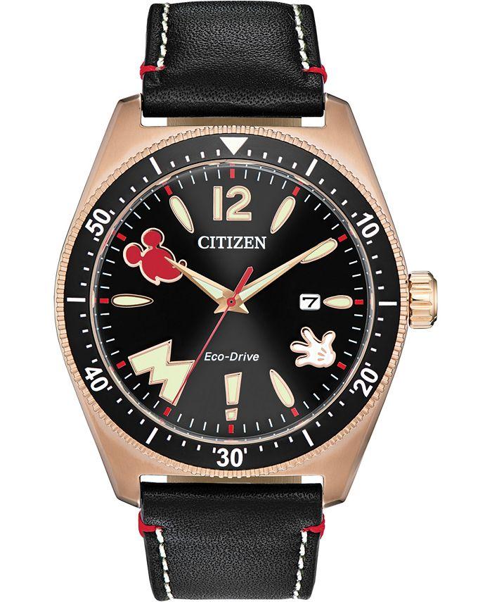 Citizen - Men's Disney Classic Black Leather Strap Watch 43mm