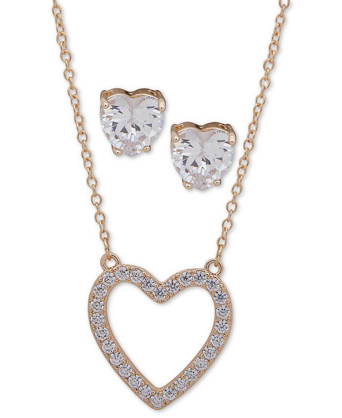 "Anne Klein - Gold-Tone Crystal Heart Pendant Necklace & Stud Earrings Set, 16"" + 3"" extender"