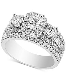 Diamond Triple Design Bridal Ring (2 ct. t.w.) in 14k White Gold