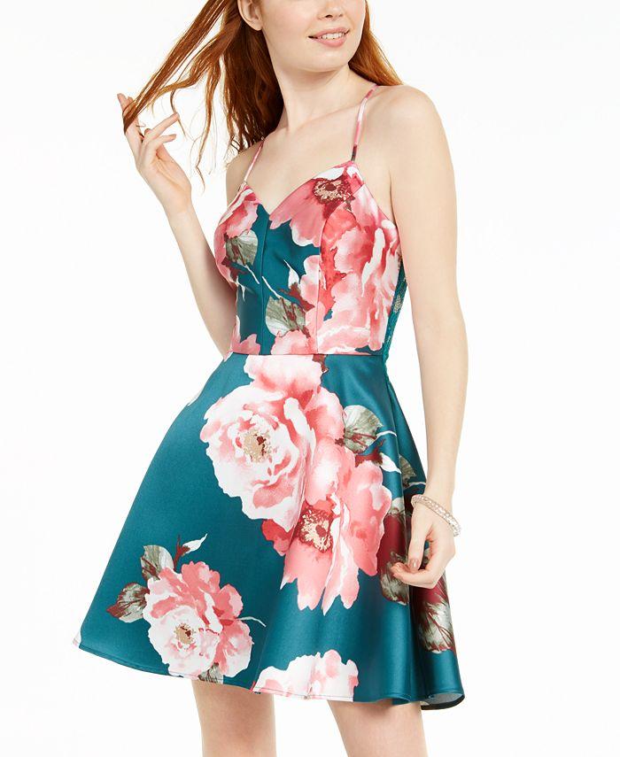 City Studios - Juniors' Lace-Back Floral-Print Fit & Flare Dress