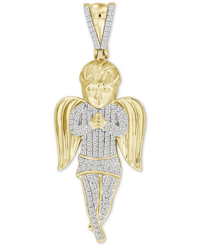 Macy's - Men's Diamond Angel Charm Pendant (1/2 ct. t.w.) in 10k Gold