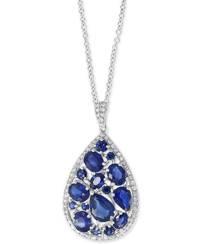 """EFFY Collection - Sapphire (3-7/8 ct. t.w.) & Diamond (1/4 ct. t.w.) 18"""" Pendant Necklace in 14k White Gold"""