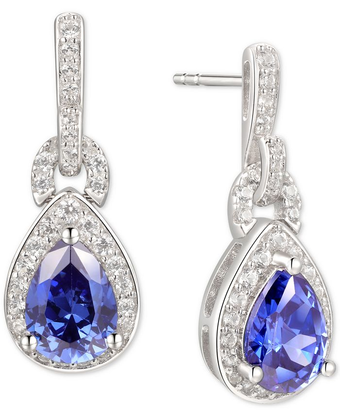 Macy's - Tanzanite (1-1/4 ct. t.w.) & Diamond (1/3 ct. t.w.) Drop Earrings in 14k White Gold