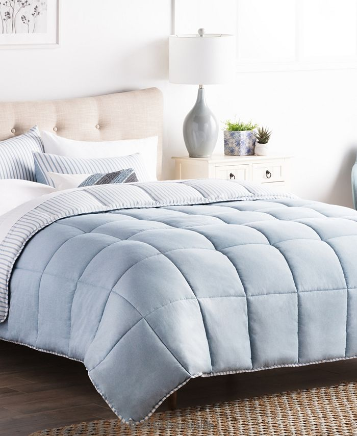 Brookside - Striped Reversible Chambray Comforter Set, California King