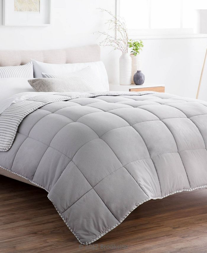 Brookside - Striped Reversible Chambray Comforter Set, Oversized King
