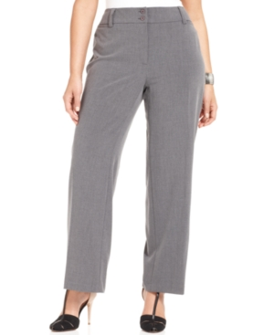 Agb Plus Size Gray Stretch Suiting Pants