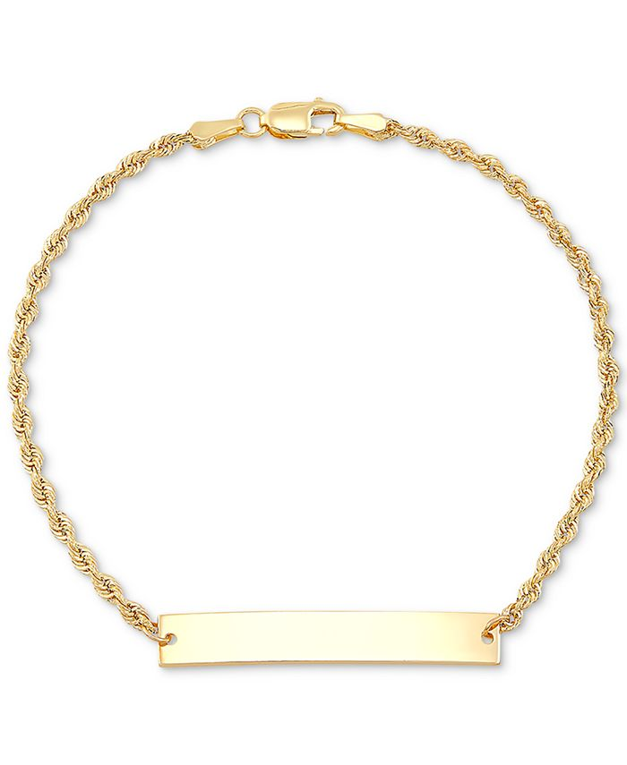 Macy's - ID Plate Rope Chain Bracelet in 10k Gold