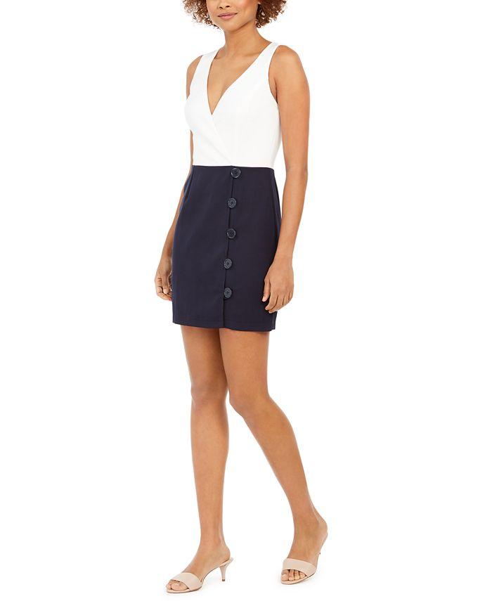 Teeze Me - Juniors' Two-Tone Button-Skirt Dress