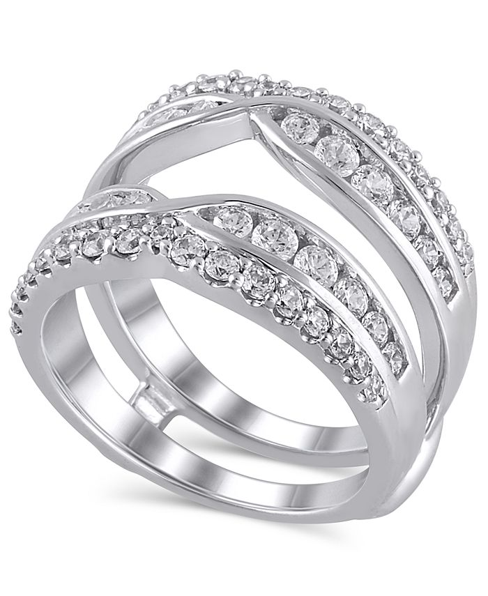 Macy's - Certified Diamond (1-3/8 ct. t.w.) Guard Ring in 14K White Gold
