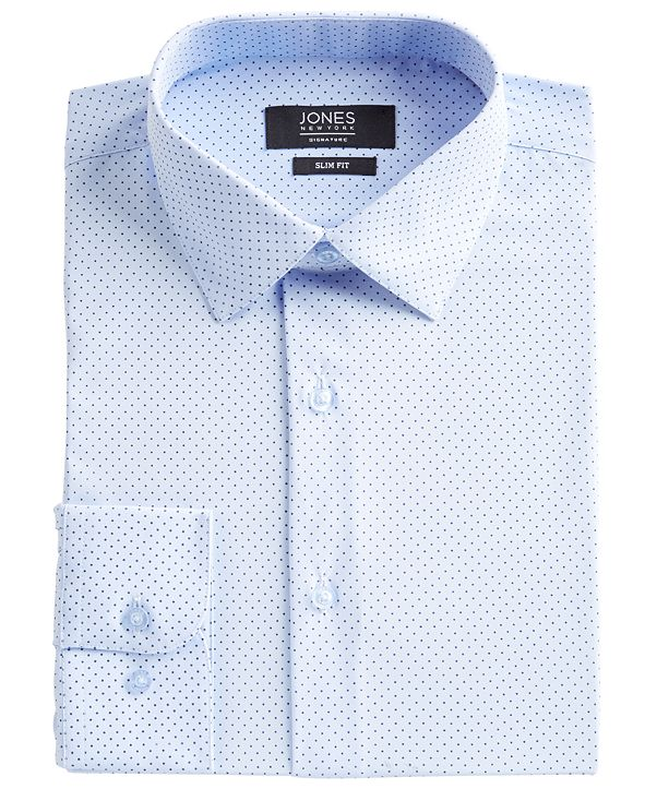 Jones New York Men's Slim-Fit Performance 4-Way Stretch Tech Light Blue/Navy Dot-Print Dress Shirt