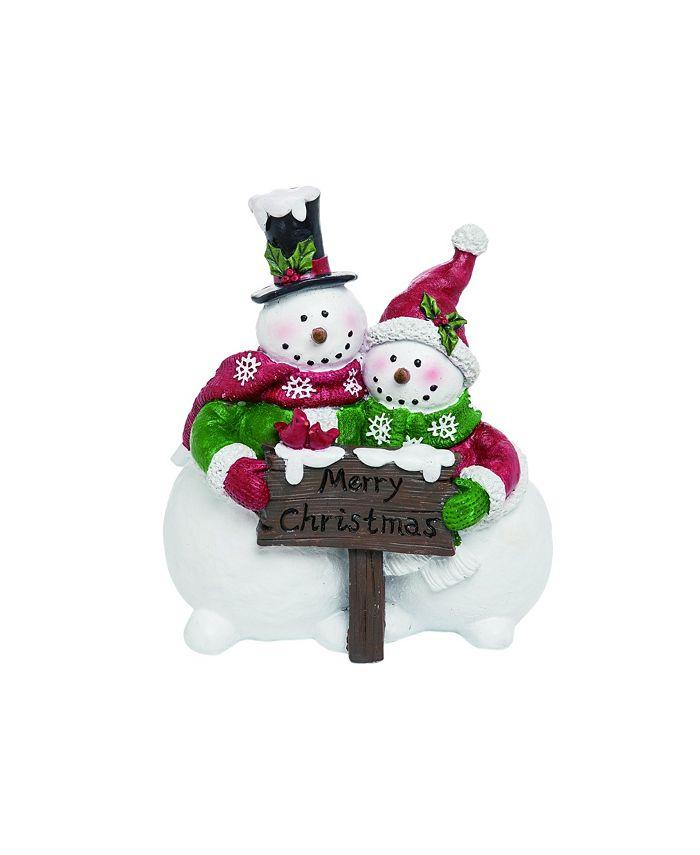 Trans Pac - Resin White Christmas Merry Snowman