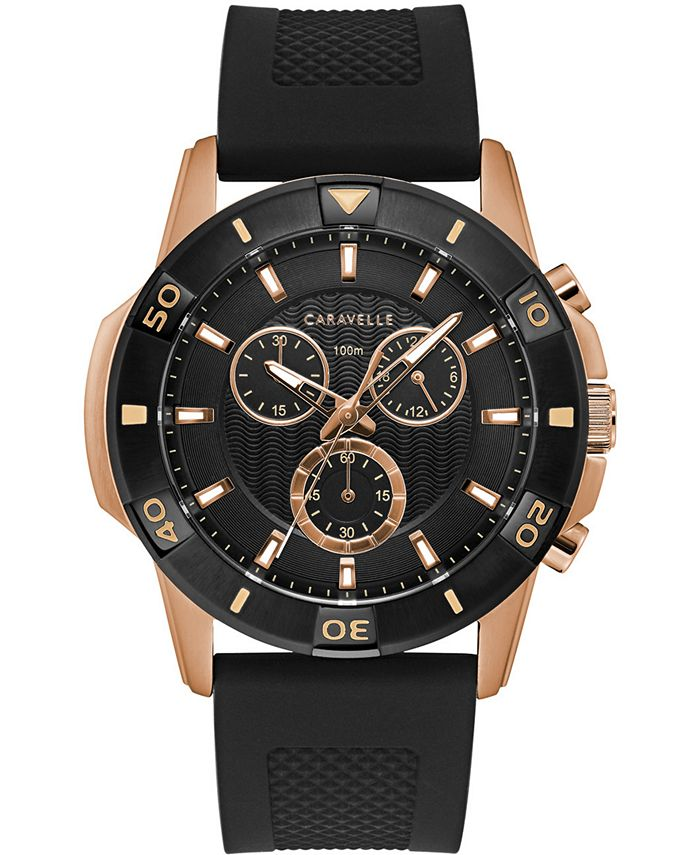Caravelle - Men's Chronograph Black Silicone Strap Watch 48mm