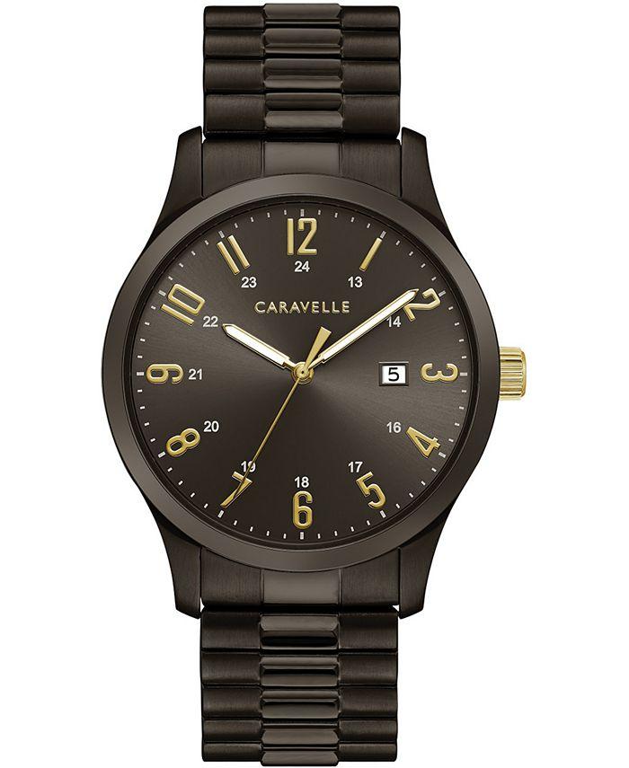 Caravelle - Men's Dark Gray Stainless Steel Expansion Bracelet Watch 40mm