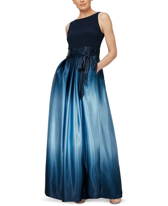 SL Fashions - Ombré Satin Bow Sash Gown