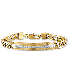 Esquire Men's Jewelry Diamond ID Plate Bracelet (1/5 ct. t.w.) in Gold-Tone Stainless Steel, Created for Macy's
