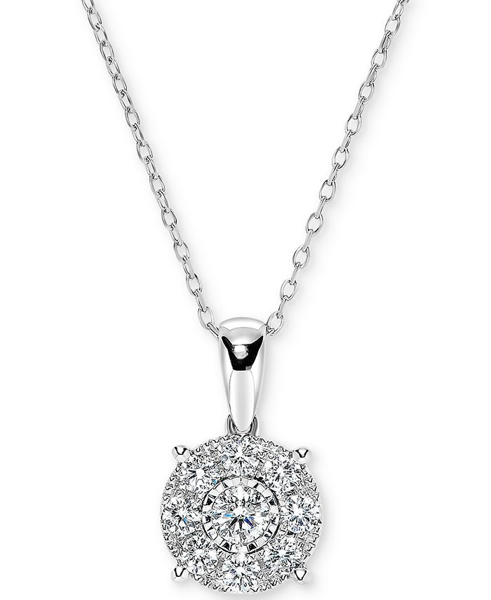 """Macy's - Diamond Miracle Plate Halo Cluster 18"""" Pendant Necklace (1/2 ct. t.w.) in 14k White Gold"""