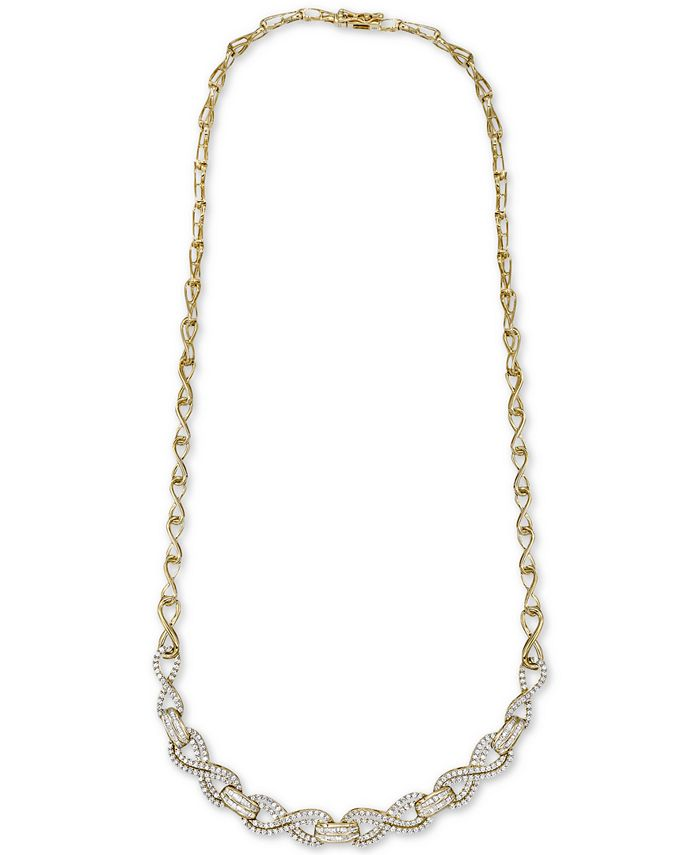 """Wrapped in Love - Diamond Infinity Link 17"""" Statement Necklace (2 ct. t.w.) in 14k Gold-Plated Sterling Silver"""