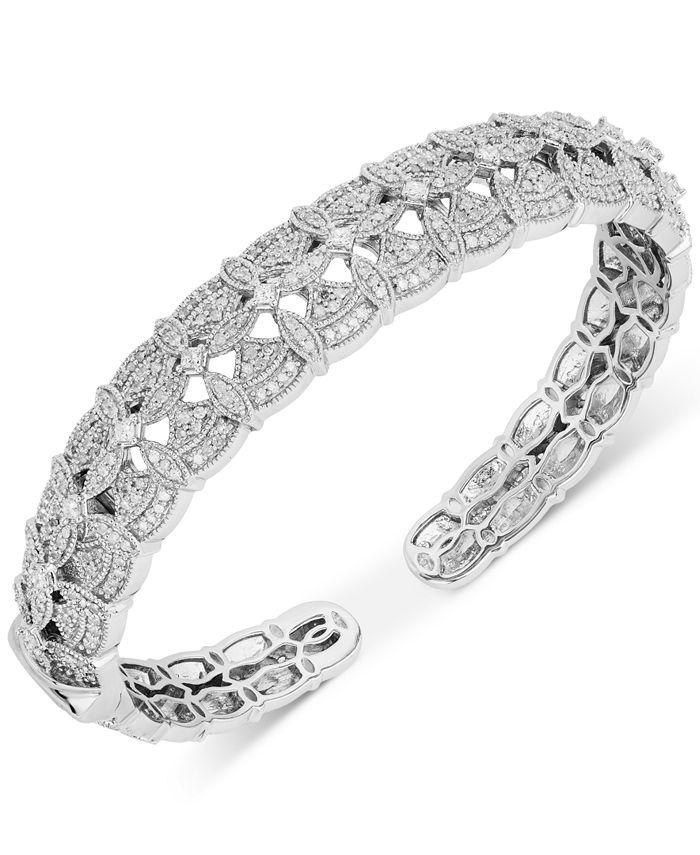 Macy's - Diamond Openwork Hinged Cuff Bracelet (1-1/2 ct. t.w.) in Sterling Silver
