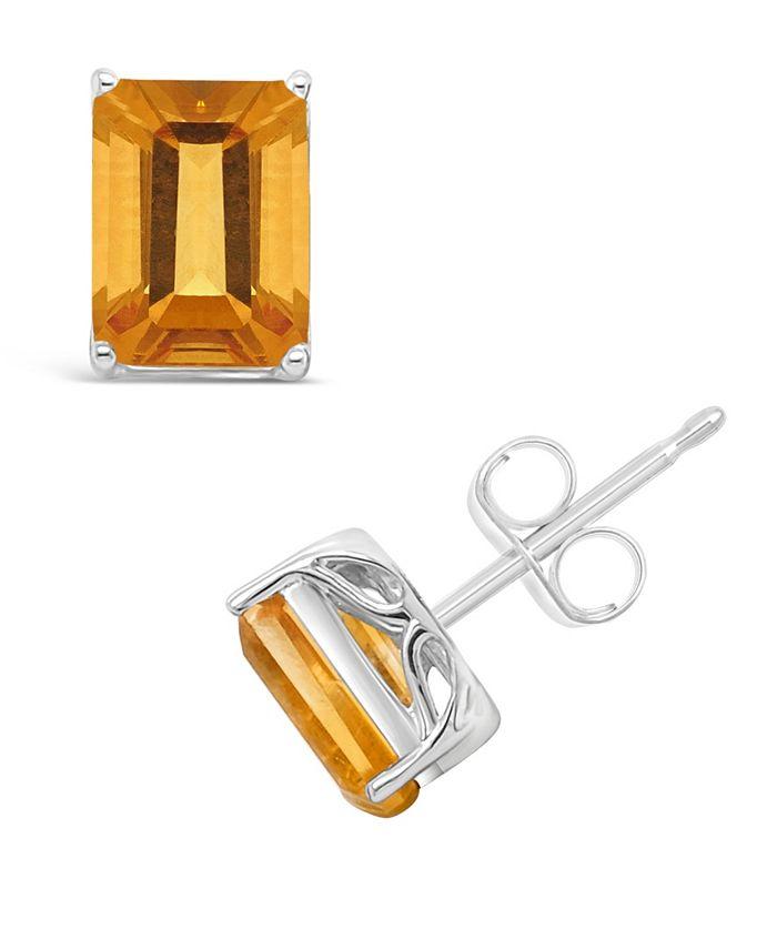 Macy's - Emerald-cut Gemstone Stud Earrings in Sterling Silver. Available in Garnet, Citrine and Amethyst