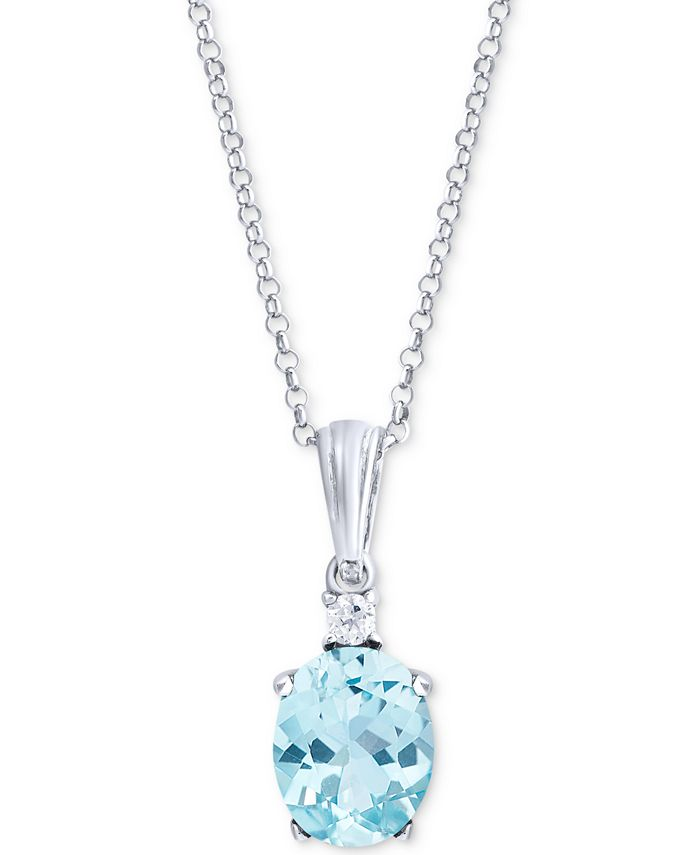 "Macy's - Blue Topaz (1 ct. t.w.) & Aquamarine (1/20 ct. t.w.) 18"" Pendant Necklace in Sterling Silver"
