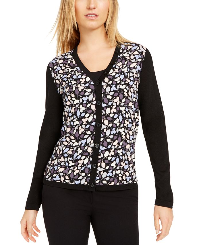 Anne Klein - Mayfair Printed Woven-Front Sweater
