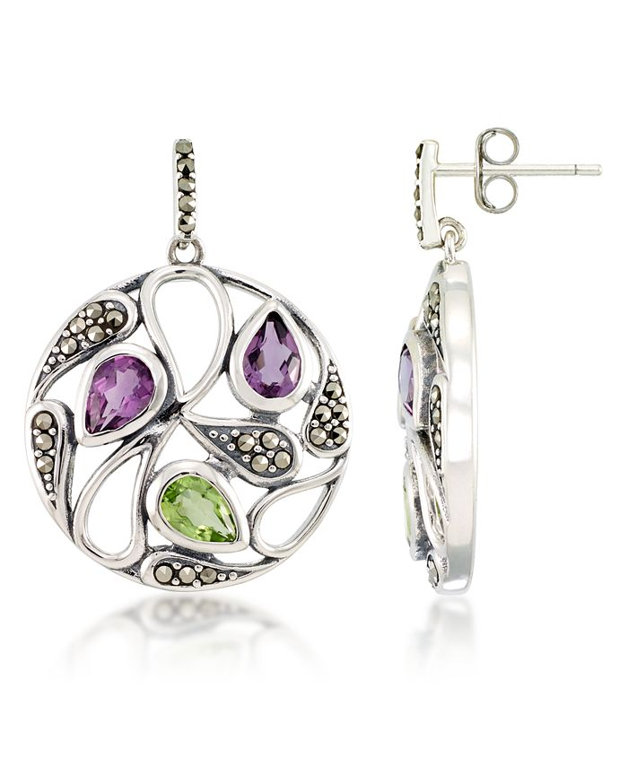 Macy's - Marcasite and Amethyst(1 ct. t.w.)  and Peridot ( 2 ct. t.w.) Paisley Round Post Earrings in Sterling Silver