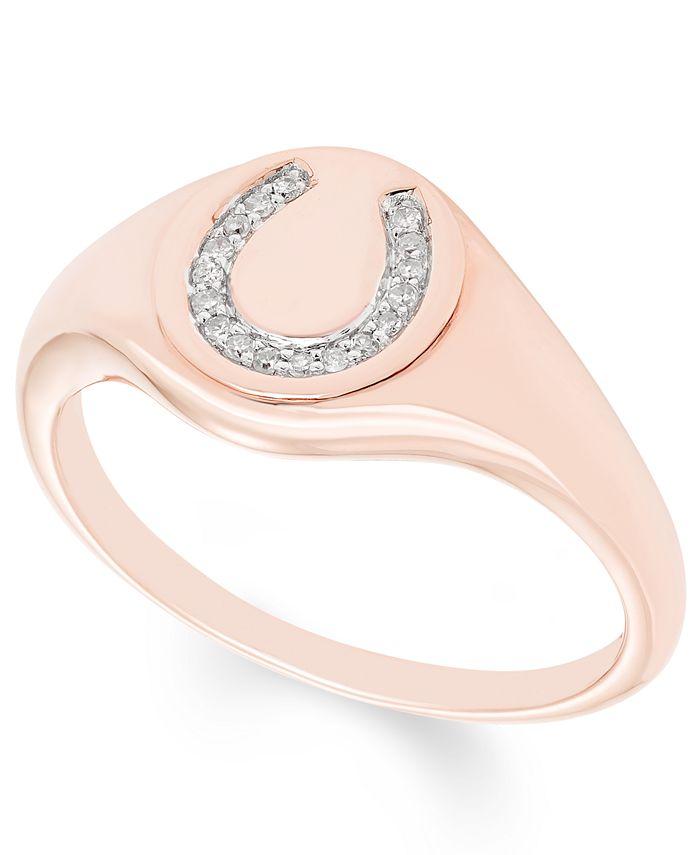 Macy's - Diamond (1/20 ct. t.w.) Horseshoe Signet Ring in 14k Yellow or Rose Gold