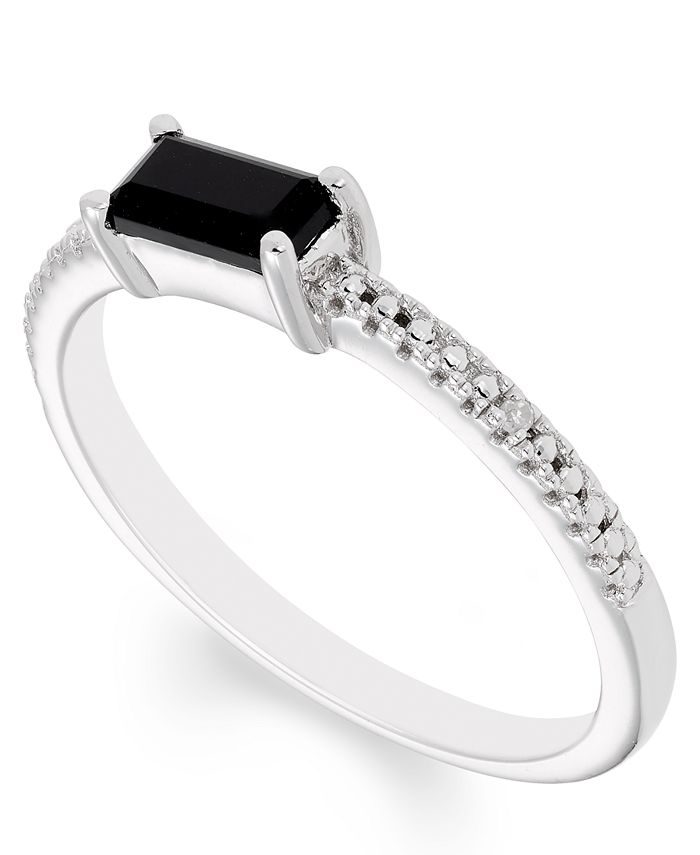 Macy's - Black Onyx (6 mm x 3 mm) Diamond Accent Ring in Sterling Silver