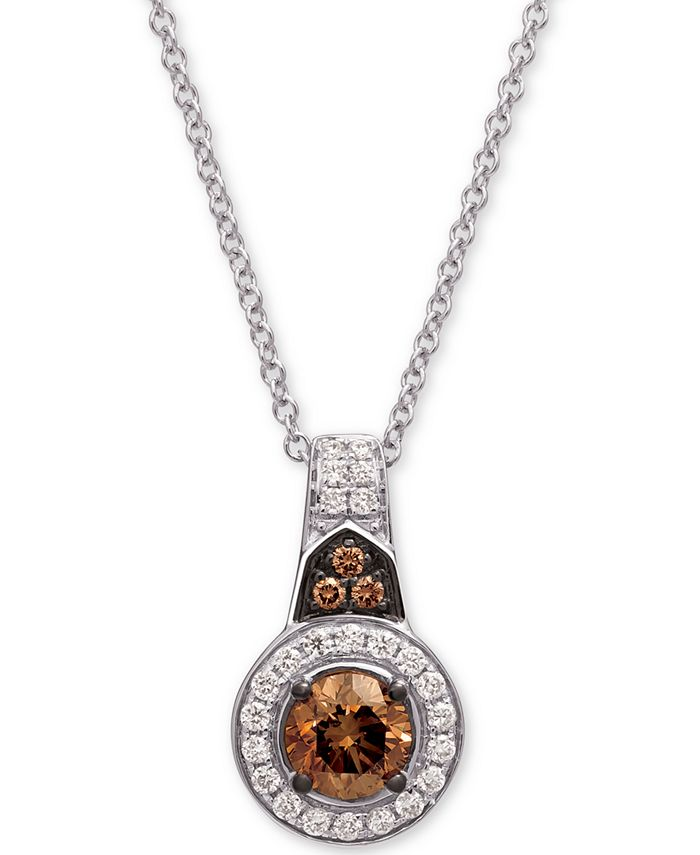 "Le Vian - Diamond Halo 18"" Pendant Necklace (5/8 ct. t.w.) in 14k White Gold"