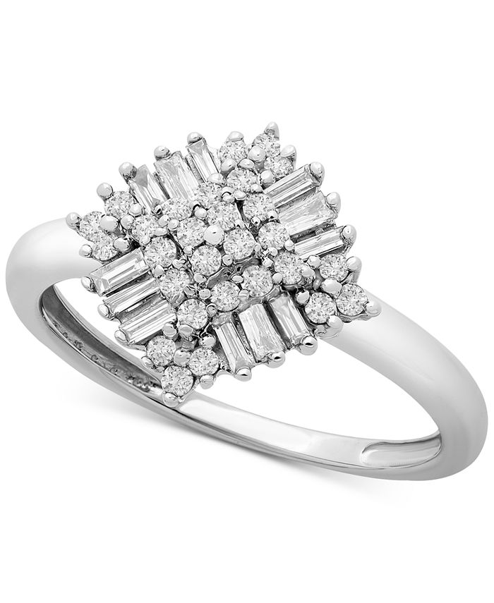 Macy's - Diamond Baguette Cluster Statement Ring (1/3 ct. t.w.) in 10k White Gold