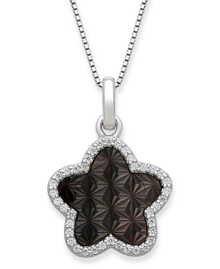 "Macy's - Black Mother of Pearl 13mm and Cubic Zirconia Star Shaped Pendant with 18"" Chain in Sterling Silver"