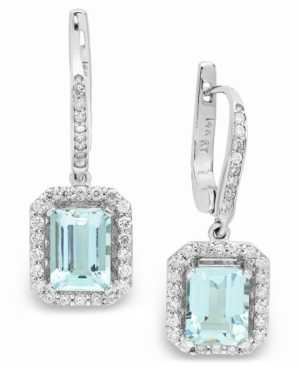 14k White Gold Earrings, Aquamarine (3-1/5 ct. t.w.) and Diamond (1/2 ct. t.w.) Leverback Earrings