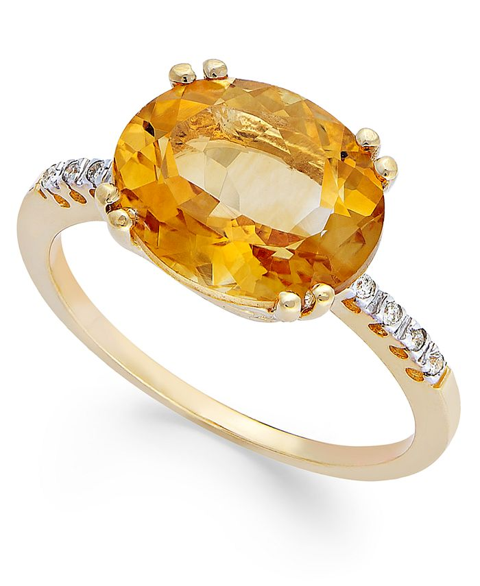 Macy's - 14k Gold Ring, Citrine (3 ct. t.w.) and Diamond Accent Oval Ring