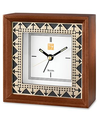 bulova frank lloyd wright collection clock wood table top. Black Bedroom Furniture Sets. Home Design Ideas