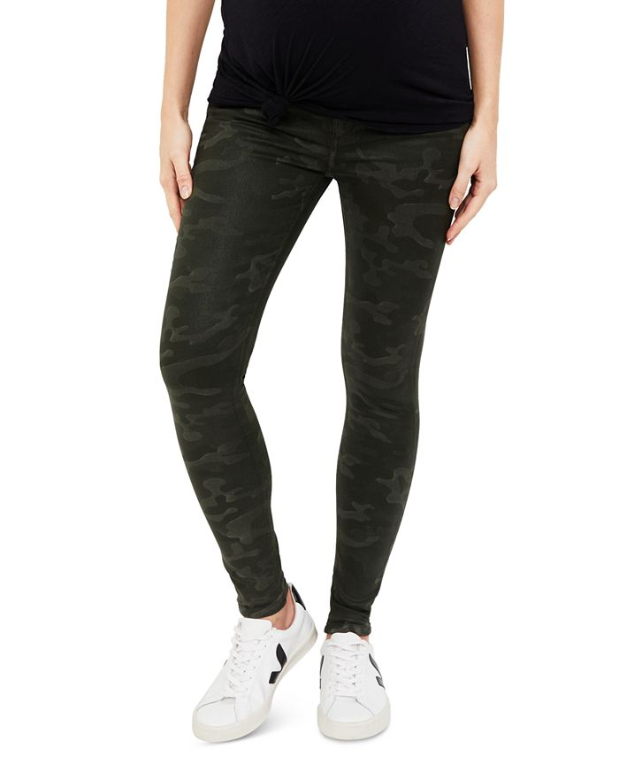 A Pea in the Pod - Maternity Coated Camo Skinny Jeans