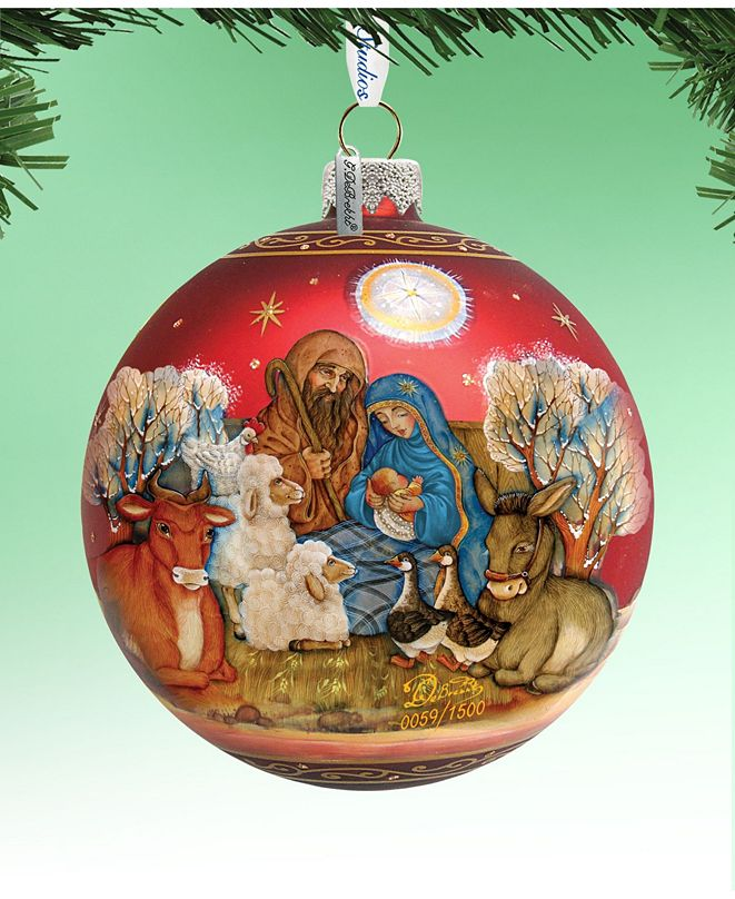 G.DeBrekht Limited Edition Oversized Story of Nativity Ball Glass Ornament