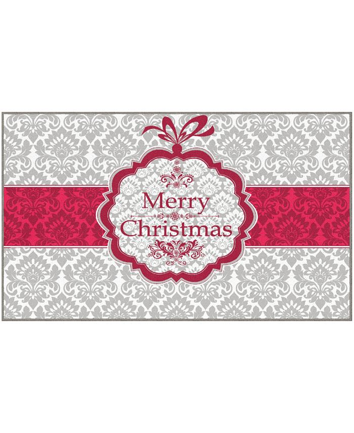 "Mohawk - Christmas Damask Accent Rug, 18"" x 30"""