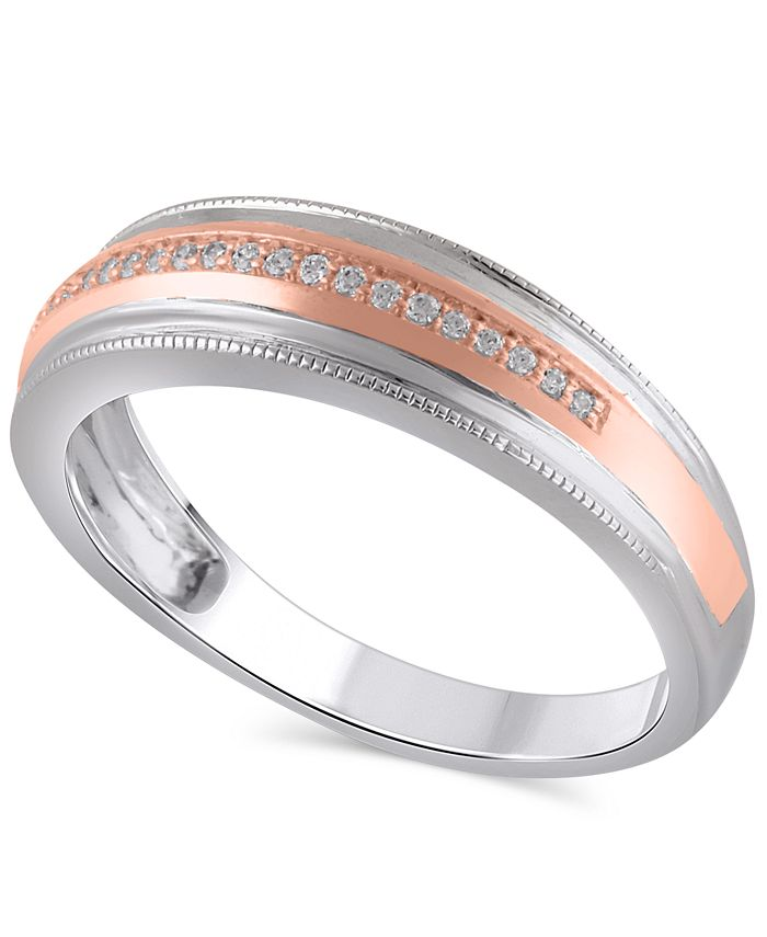 Macy's - Men's Certified Diamond (1/10 ct. t.w.) Ring in 14K White and Rose Gold