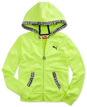 Puma Kids Sweatshirt Girls PrintedTrim Hoodie
